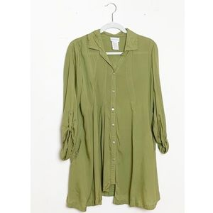 Soft Surroundings Button Down Tunic Top Green